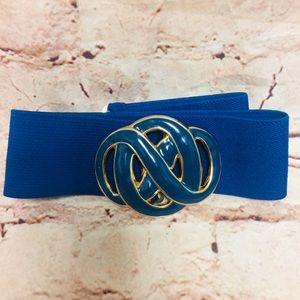 Day Lor Vintage Elastic Waist Blue Enamel Belt
